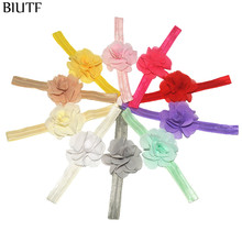 3pcs/lot Elastic Ribbon Headband with 6.0cm Fabric Chiffon Flower Kids Lovely Headwear All Colors In Stock FD240
