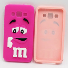 New Style 3D Fashion Soft Silicone Rubber Case For Samsung Galaxy A3 A5 A7 M&M'S Chocolate Rainbow Beans Cartoon Back Cover Case