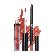 2pcs/set waterproof Matte lipstick matte Liquid Lipstick + pencil lip gloss Cosmetic makeup lip kit Makeup(China)