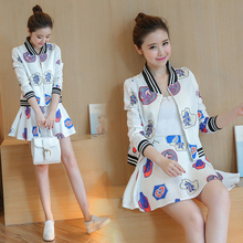 2 piece set women skirt top 2017 spring women's printing coat jacket students baseball uniform coat +skirt suits a set of top