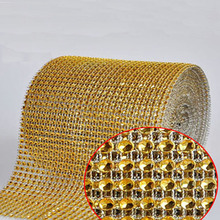 10Yards 24rows Gold Diamond Mesh Wrap Roll Hot Fix Glass Rhinestone Crystal Cake Ribbon Trimming Wedding Party Decorations