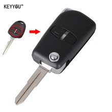 KEYYOU Modified Remote Key Shell Case 2 Buttons For Mitsubishi Outlander Grandis Pajero Lancer Car Cover Right groove With Logo