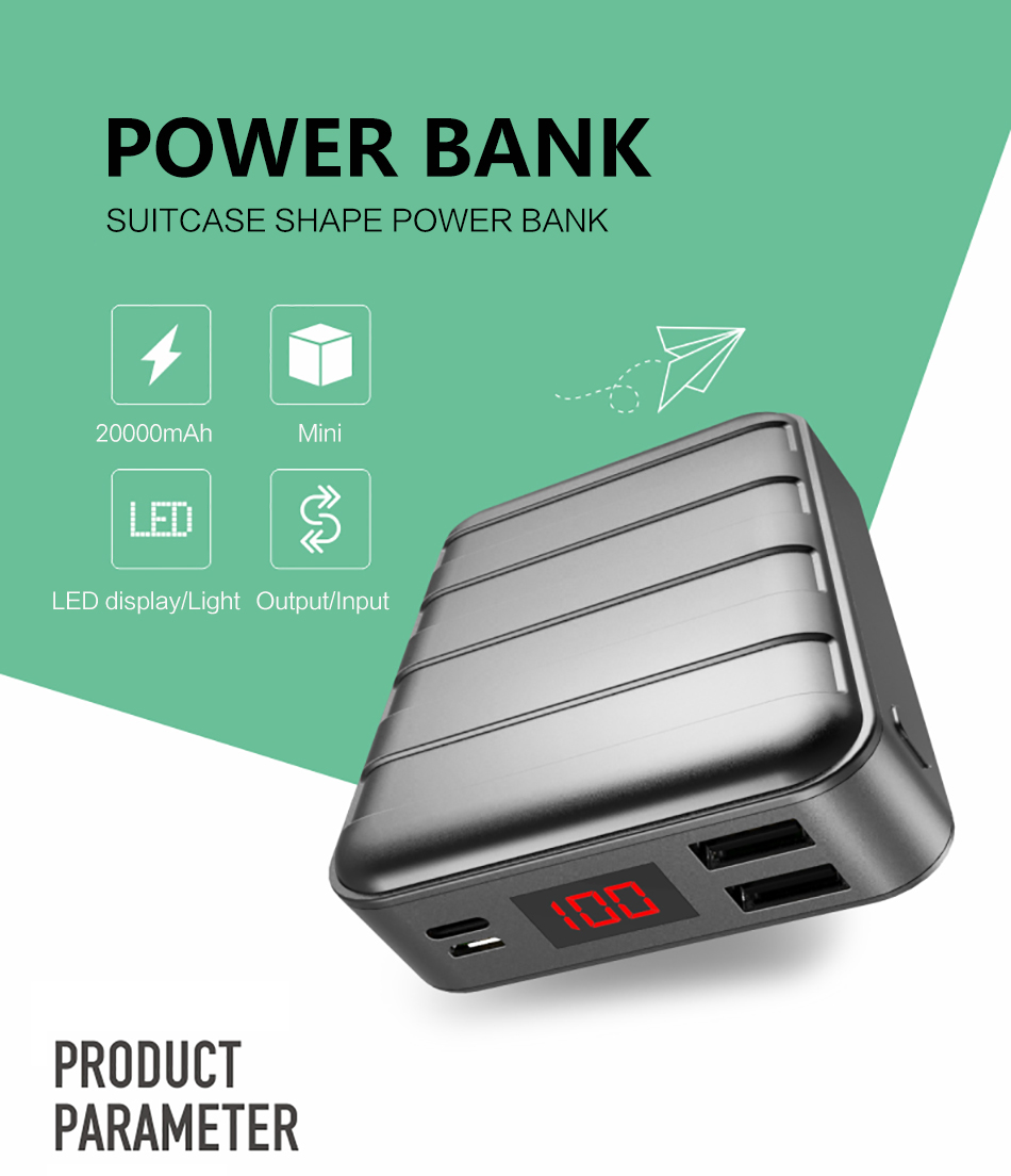 Power Bank 000mAh USAMS LCD Portable PowerBank External Battery Dual USB Charger For Xiaomi iPhone 7 6 6S 5 Mobile Phones Tab 7