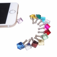 Square Shape 3.5mm Anti-dust Plug Fashionable Gemstone Ball Pendant Style Earphone Jack Cap for iPhone Smartphones Tablet