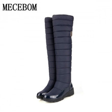 2017 brand waterproof winter boots keep warm knee high boots round toe down fur ladies fashion women rain snow boots shoes 7969W(China)
