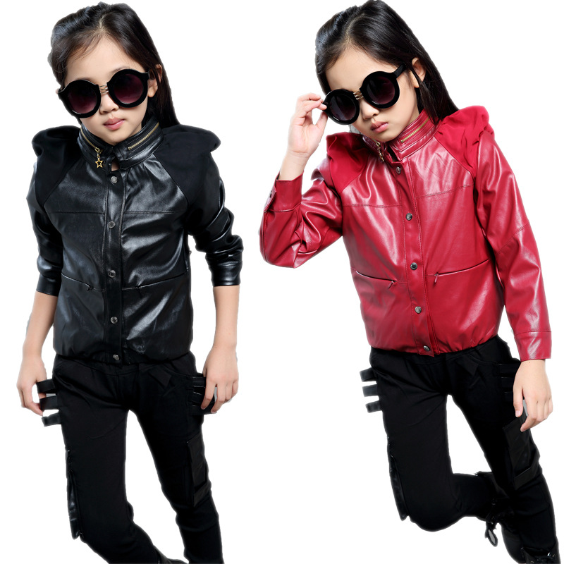 Fashion Girls Pu leather Clothing Set Black Red Color Jacket+Trousers Costume Coat<br>