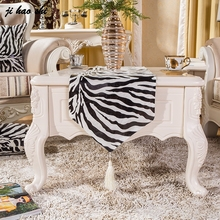 Short Plush Simple Animal Zebra Stripes Table Runner Wedding Decoration Dining Tablecloth For Hotel  And Banquet