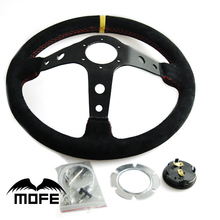 SPECIAL OFFER HOT SALE Original Logo 90mm Deep Corn Dish 350mm Suede Leather Racing Car Steering Wheel
