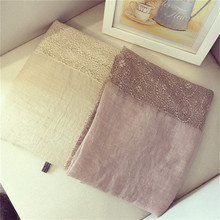 Women Linen and Cotton Blends Scarves Winter Styles For Ladies High Quality Warm Wrap Lace Scarf SC3049(China)