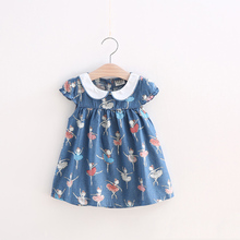 BibiCola Girls Envroidery Dress Brand Summer Girl clothes Baby Denim dresses for kids flowers Dress Children Cowboy Floral Print