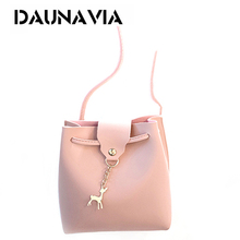 Buy DAUNAVIA Fashion tide small deer bucket bag handbags small satchel simple leisure shoulder Messenger bag small bag for $6.11 in AliExpress store