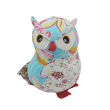 Whoesale 10pcs/lot Cute Owl Dolls Cloth fabric Embroidery Eyes 3 Colors Animal Dollhouse Miniatures Figurine Decor Toy Gifts