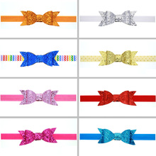 7Clr children accessories Infant newborn Baby girl accessories ribbon sequins bow Toddler Head bands Headwear kids Hair Band