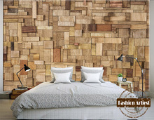Custom 3d wallpaper mural natural life style wooden stick board tv sofa bedroom living room cafe bar restaurant background