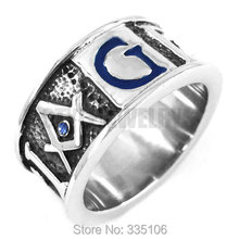 Free Shipping! Blue G Crystal Masonic Ring Stainless Steel Jewelry GEOMETRI Carve Words Freemasonry Motor Biker Men Ring SWR0358(China)