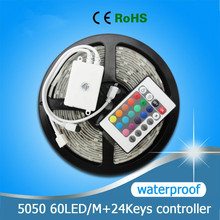 Free Shipping 12V LED Strip 5050 RGB Waterproof LED Light 60LEDs/M 5M ,only RGB/Changeable with 24Keys Controller
