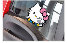 Car Accessories Funny Hello Kitty Hit The Window Decal Cute Car Sticker for Ford Focus Vw Polo Skoda Golf Opel Renault Kia