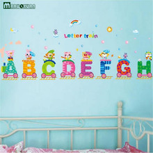 2017 Vinilos Paredes Removable English Letters Train Wall Stickers Alphabet Decals Diy Home Decor For Kids Rooms Decoration(China)