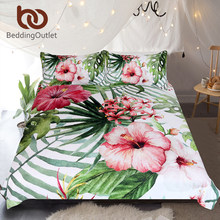 BeddingOutlet Flowers Bedding Set Leaves Duvet Cover Set Tropical Plants Home Textiles 3-Piece Red Green White Bedclothes(China)