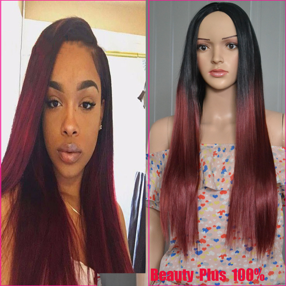 Africa America Women Fashion Straight Black Root to Red Ombre Synthetic Wig High Quality Ombre Wig Perucas Red wig Middle part <br><br>Aliexpress
