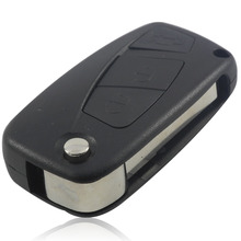 For FIAT 3 Button Punto Ducato Stilo Panda Bravo Navy Flip Fob Black 3 BTN Folding Remote Key Shell Case Cover With Sticker