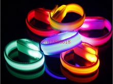 100cs/lot Free Shipping Nylon Led bracelet Wrist Band Running Cycling Safety reflective Glow Belt Light outdoor sports