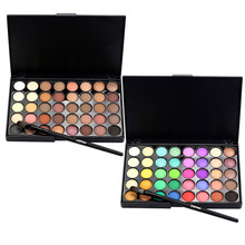 40 Color Eyeshadow Palette Matte Glitter EyeShadow Diamond Shimmer Eye Primer Luminous Eye Shadow Women Gift Smoky/Warm Color(China)