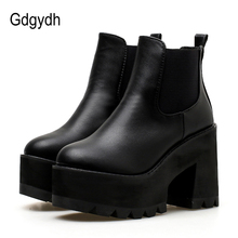 Gdgydh Wholesale 2018 새 가 Black Block 힐 Boots Shoes Round Toe Ankle Boots 대 한 Women Slip 에 Lady Platform casual Shoes(China)