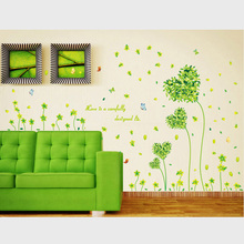 Green Love Flowers Wall Sticker For Living Rooms Kid Room Bedroom Wall Decals Home Decor Mural Art Waist Line Vinyl Wallpaper