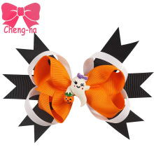 5 Pcs/lot Girls Halloween Hair Bow With Clips KIds 5 Inch Grosgain Ribbon Handmade Hard Hair Accessories()