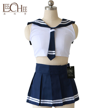 Buy Leechee YQ142 Women Sexy Lingerie Role Play Japanese Student Uniform Tie+Vest+Skirt Erotic Underwear Babydoll Sexy Costumes