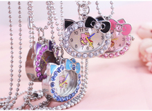 1pcs hot fashion Cat Face with Pink Diamond hello kitty Pocket Watch for girl