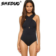 One Piece Sexy Women Swimwear Cross Bandage Beach Swimming Suit Solid High Neck Bathing Suit Push Up Backless Swimsuit(China)
