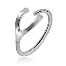 LASPERAL 1PC Stainless Steel Ring Y Pattern Bright Silver Color Ajustable Rings For Women Elegant Fashion Rings Jewelry
