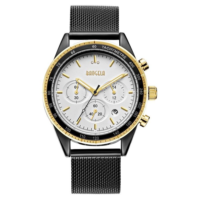 BAOGELA Chronograph Black New Watches Mens Quartz Watch Stainless Steel Mesh Band Slim Men Watch Student Sports Wristwatch<br>