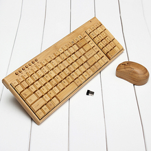Original Multimedia Bamboo Wireless Keyboard 2.4GHz Handmade Wooden Wireless Keyboard &Mouse Set for Home/Office Computer/laptop