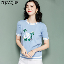 LUXURY European Brand designer Fashion Beading Flower and Bird Pattern Women's Knitted T-shirts Lady's Casual Summer Tops SY1434(China)