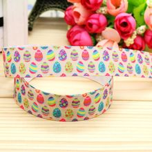 7/8'' Free shipping easter printed grosgrain ribbon hairbow headwear party decoration diy wholesale OEM 22mm P5036(China)