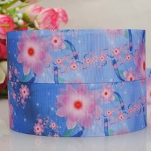10 yard 1 - 1/2  38 mm 2015new lovely blue flowers ribbon   grosgrain pattern  ribbon  tape DIY ployester ribbon