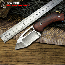LCM66 Beautifu Folding Knife, Red shadow wood Survival Knives,Very sharp Mini Rescue Pocket Knife,Gift Key knife Browning Tools(China)