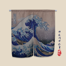 Japan Style Curtain Ukiyoe The Great Wave off Kanagawa Kitchen Curtains Decoraive Door Linen Cotton  Room Divider Free Shipping