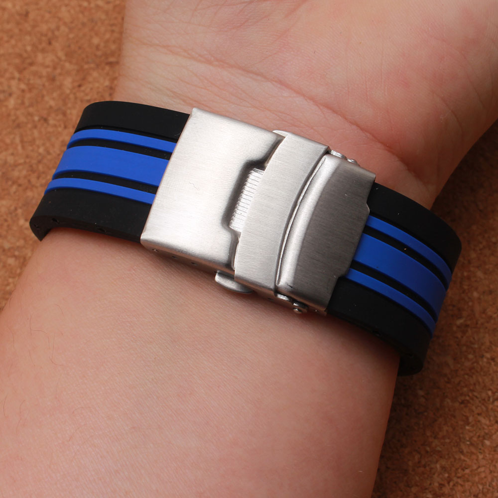new arrival Special watchband watch strap bracelet with silver buckle folding deployment 21mm silicone rubber mens watches bands<br>