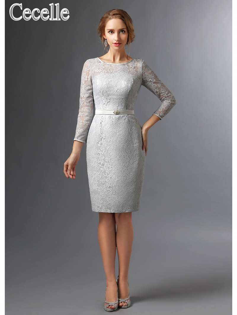 Compare prices on bridesmaids dresses grey online shoppingbuy 2017 new silver grey modest lace bridesmaid dresses with 34 sleeves short knee length ombrellifo Images