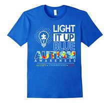 Summer Short Sleeves Fashion T Shirt Free Shipping Light It Up Blue Official Autism Awareness April 2017 TShirt(China)