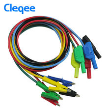 Cleqee P1018A 1M 4mm Silicone Banana Plug to Crocodile Alligator Clip Test Probe Lead Wire Cable(China)