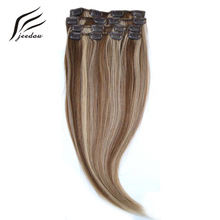 "jeedou Straight Synthetic Hair 18"" 45cm 70g Clip In Hair Extensions 7Pcs/set Real Natural Hair Black Blonde Color Hairpieces"