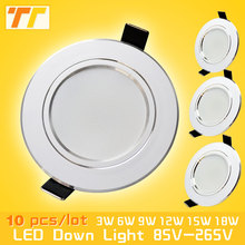 10pcs/lot led downlight lamp 3w 5w 7W 9w 12w 15w 18w 230V / 110V ceiling recessed downlights round led panel light free shipping(China)