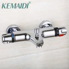 Buy KEMAIDI RU Thermostatic Shower Faucet Wall Mounted Double Handles Faucet Spout Filler +Diverter Chrome Bathtub Valve Mixer Tap for $36.66 in AliExpress store
