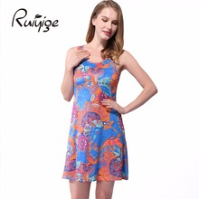 RUIYIGE ladies summer retro tunic fashion print clubbing O-neck evening day casual floral vintage sleeveless party dress