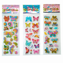 3pcs/lot Bubble Stickers 3D Cartoon the butterfly Classic Toys Scrapbook For Kids Children Gift Reward Sticker for girls